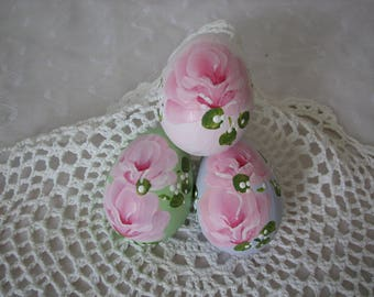 Easter Eggs Hand Painted Pink Roses Set of 3 Basket Decor Spring Lilac Green Paper Mache