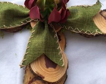 Natural Cedar Wood Slice Cross