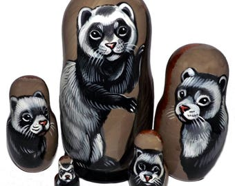 Ferret on Russian Nesting Dolls. Country Side.