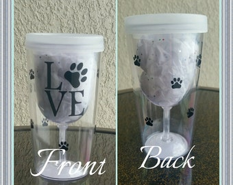 Dog Love Travel Wine Glass,  Paw Print Travel Plastic Wine Glass Safe for Pools and Boats