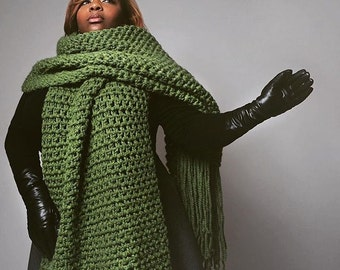 The lenny kravitz scarf-Hand Crochet - Mens' Gift- Winter Scarf- Olive Green