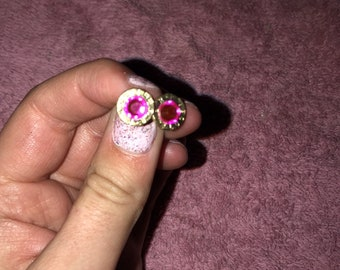 9mm Luger pink earrings
