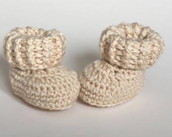 Pale beige baby booties, baby shoes, crochet baby shoes, crib shoes, baby, crochet baby booties, baby slippers, crochet