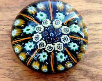 Vintage Millefiori Hand-Blown Art Glass Paperweight - Murano-Style Cane Glass Paper Weight - Close-Packed Green, Gold, White Canes - 3""