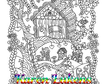 Happy Log Cabin, 1 Adult Coloring Book Page, Printable Instant Download