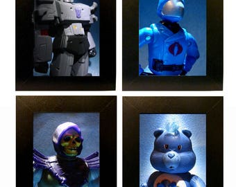 """Framed '80s Toy Villains Action Figure Photos 4"""" x 6"""" Toy Photography"""