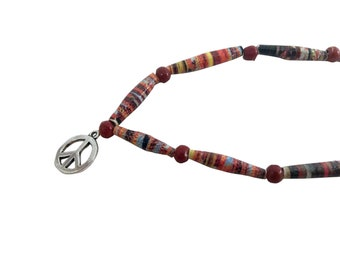 Red multicolored necklace with peace charm