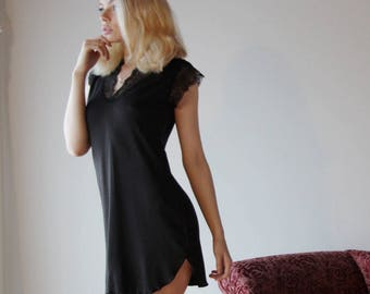 womens bamboo sleep shirt tunic with lace trim  - NOUVEAU womens bamboo sleepwear range - made to order