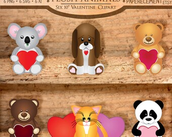 Plush Animal Clipart: Stuffed Animal Clipart, Valentine Clipart, Heart Clip Art, Teddy Bear Clipart, Puppy Clipart, Kitten Clipart Download