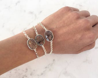 Black rutile quartz bracelet, oval rutilated quartz gemstone bracelet, sterling silver chain bracelet, minimal tourmaline quartz armband
