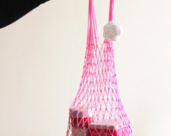 Pink Eco Friendly Shopping Net Bag, Great for  go to the beach, shopping, hold dirty clothes, toys, beach accessories