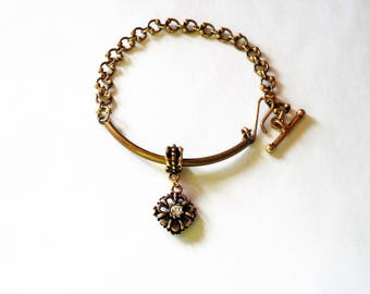 Vintage Victorian Styled Bracelet with Etruscan Styled Charm / Tube Bead Bracelet with Antiqued Gold Chain