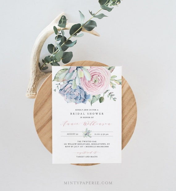 Bridal Shower Invitation Template, Printable Couples Shower Invite,  INSTANT DOWNLOAD, 100% Editable, Succulent, Boho Cactus, DIY #041-146BS