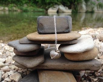 Fine Silver Ozark Brachiopod Fossil Necklace on Silver Chain