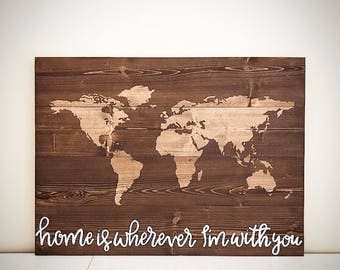Custom Wood World / State Map - Rustic Wooden World Map Sign - Customizable DIY World Map - Vintage Wooden World Map - Custom Wood Signs