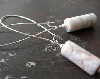 Root Chakra Healing Earrings, Marble Earrings, Long Earrings, Minimalist Earrings, White and Gray Stone, Silver Plated Kidney Wire Earrings