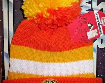 RARE Vintage 70s 80s Star Wars Fan Club knit winter pom ski beanie Hat orange yellow lot vehicle figure action anh esb toy the last jedi NOS