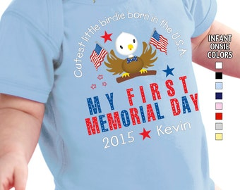 My First Memorial Day - Cutest Little Birdie Born in the USA - Bodysuit - Boys - Personalized with Name and Year