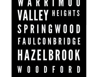 Tram Scroll / Bus Scroll - featuring Blue Mountains towns.