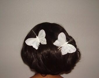 WEDDING BUTTERFLIES - 2 Big White Feather Glitter Butterfly Hair Pins