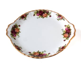 Royal Albert Old Country Roses Cake Plate, Backstamp No. 1 (1962-1973) Old Country Roses English China Cake Plate with Tab Handles