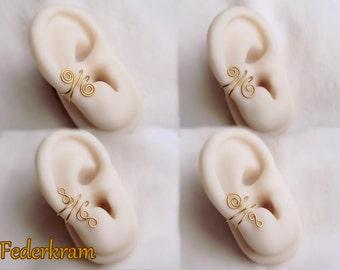 Ottone di polsino dell'orecchio piccolo, 4 disegni disponibili, nichel-free clip sopra, nessun piercing. oro bronzo