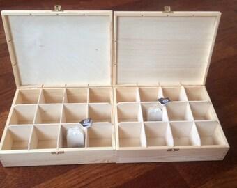 2 pcs set of 2 wooden tea boxes, 12 compartments box, unfinished unpainted untreated plain tea box, wooden storage box, Kitchen organization