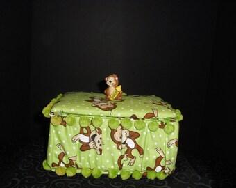 Monkey Fabric Crayon Box