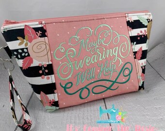 Maybe Swearing Will Help B&W Coral Stripe Floral - Knitting Project Bag - Crochet Bag