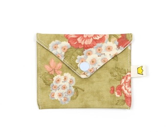 """Floral mini snap pouch, 9"""" circular needle storage, notions pouch"""