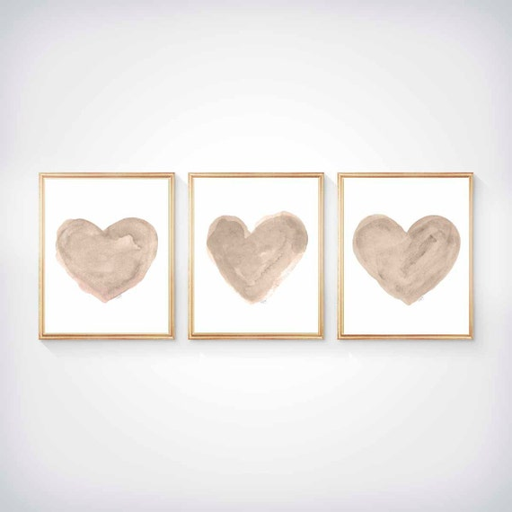 Set of 3 - 8x10 Natural Hearts for Neutral Nursery Decor