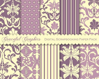 Scrapbook Paper Pack Digital Scrapbooking Background Papers 10 Sheets 8.5 x 11 MAUVE Purple YELLOW Old Leaf Flower DAMASK 1834gg