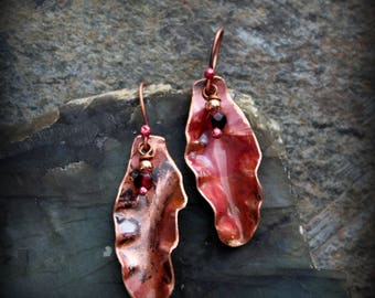 Copper Leaf Earrings Torched Patina