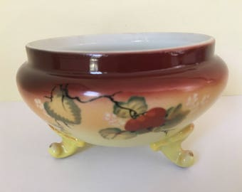 Beautiful vintage 1920s Nippon fine Japanese porcelain hand painted signed Nippon hallmarked  3 footed bowl