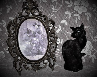 """Halloween! Witch picture in 12""""frame and cat with glowing eyes!"""
