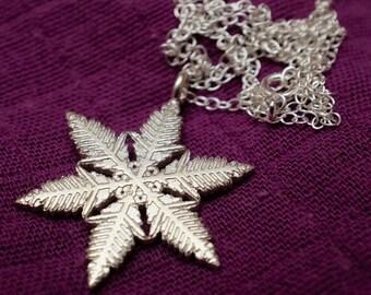 Unique silver snowflake pendant necklace