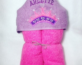 Princess Crown Hooded Towel, Personalized Hooded Towel, Kids Personalized Towel, Crown, Princess Party, Princess Crown, Princess Embroidery