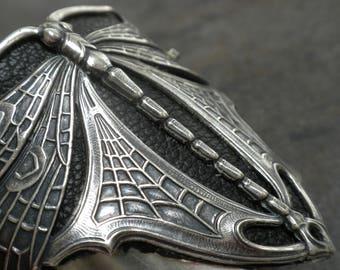 Silver Cuff Bracelet for Women Dragonfly Jewelry Art Nouveau Style