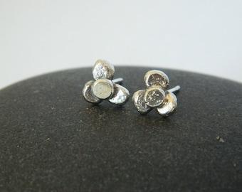 Sterling Silver Flower Studs, Handmade Earrings, Sterling Silver Studs, Silver Earrings