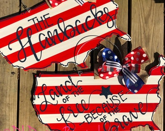 American flag map door hanger with handlettering land that i love  or personalized