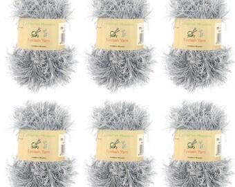 Eyelash Yarn - 50g - 6 Skeins - Grey