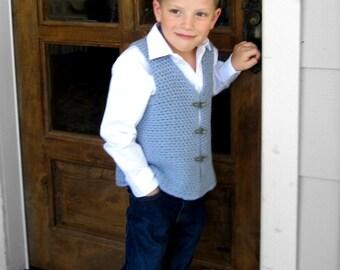 Caelen Vest Crochet Pattern Boys Size 4, 6, 8 and 10