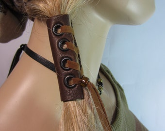 Leather Corset Hair Wrap Ponytail Holder Hair Jewelry BOHO Bohemian Clothing Resort  Wear  Brown Z103