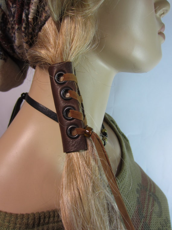 Leather Corset Hair Wrap Ponytail Holder Hair Jewelry Boho