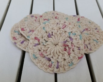 Crochet Tan (Pastel Flecks) Facial Scrubbies, Set of 5