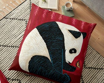 The Panda and the Butterfly - Floor Pillow Cover - 36 inch x 36 inch by Oliver Lake / iOTA iLLUSTRATION