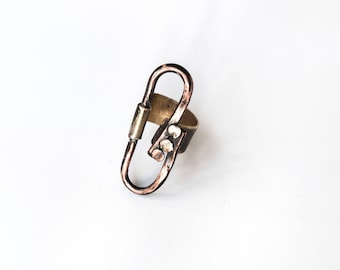 Ring for women Contemporary jewelry Ring metal band art Abstract jewelry Adjustable metal ring Copper band Rustic style jewelry women ring