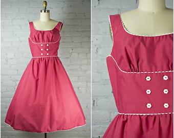 vintage 1950s dress . red 50s style day dress with shelf bust . bavarian style day dress . small