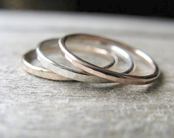 Sterling silver rose gold yellow gold stack rings