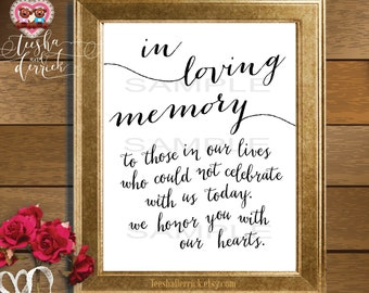 Instant download Printable In Loving Memory, Wedding Memorial Table Sign, Memory Sign,  (c0202)